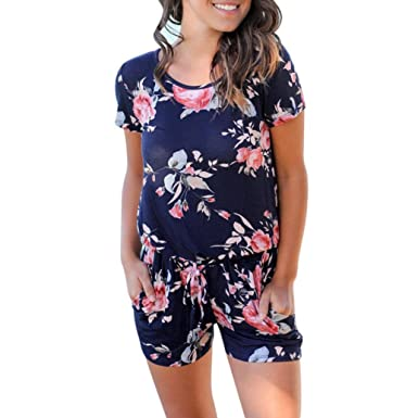 3b4e10e3af8 Rambling New Women Fashion Summer Floral Short Sleeve Beach Jumpsuit  Playsuit Beach Rompers