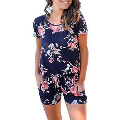 3007452788b Rambling New Women Fashion Summer Floral Short Sleeve Beach Jumpsuit  Playsuit Beach Rompers