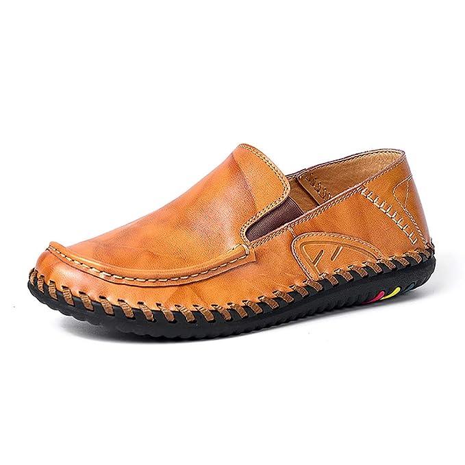 7c996f36c783 Herren Fahr Schuhe Faule Handgemachte Schuhe Low Rise Flache Schuhe Herbst  Breathable Freizeit Lederschuhe  Amazon.de  Bekleidung