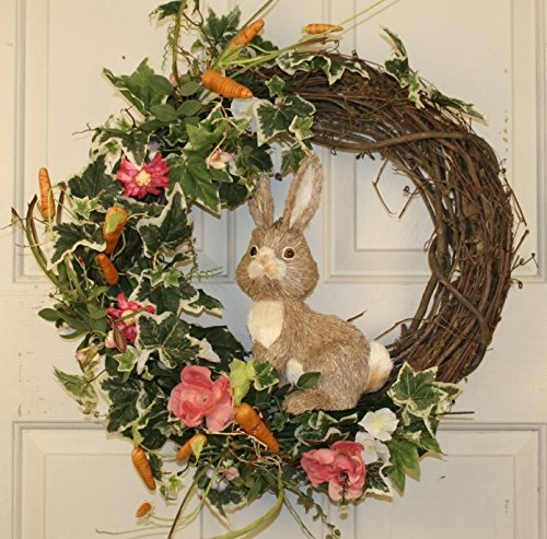 Country Rabbit Spring Door Wreath Easter Wreath