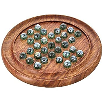 Wood Art Store Wooden Games Solitaire Board with Glass Marbles (Brown)