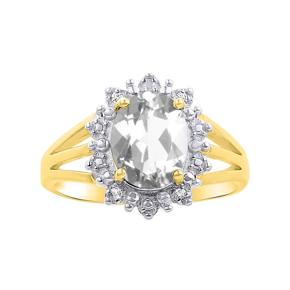 Princess Diana Inspired Halo Diamond & White Topaz Ring Set In 14K Yellow Gold by Rylos (Image #1)