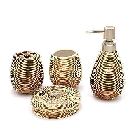 Rocita - Juego de Accesorios de baño de cerámica, 4 Piezas, dispensador de jabón