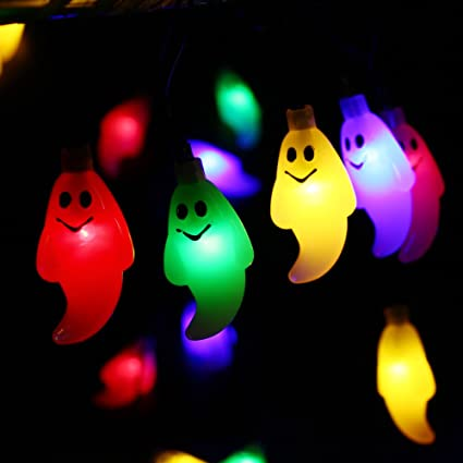 Icicle Solar String Lights,19.7ft 30 LED 8 Modes, Waterproof Cute Ghost  Christmas