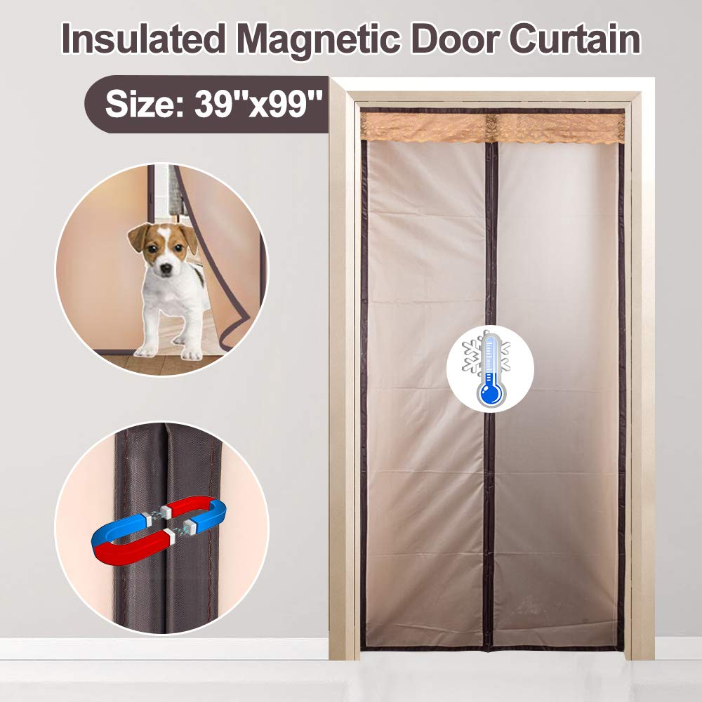 Pets Kids Walk Through Freely Full Frame Hook/&Loop Enjoy Cool Summer /& Warm Winter for A//C Bed Room Magnetic Insulted Door Curtain 39 x 99 Stair Kitchen IKSTAR EVA Double Door Cover Brown