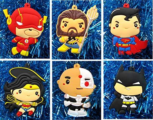 Ornament Super Hero Justice League Holiday Christmas Set - Unique Shatterproof Plastic Design]()