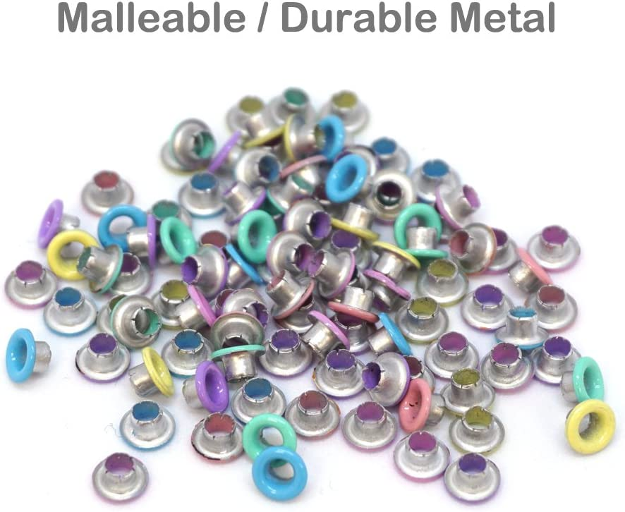Pastel FoRapid 3mm//1//8 Quicklet Eyelets-Scrapbooking//Birthday Wedding Baby Greeting Holiday Card//Paper Craft//Luggage Cruise Tag//DIY Album//Clothing etc-Pre-Cut Back Slit Set with a Pen-84 PCS