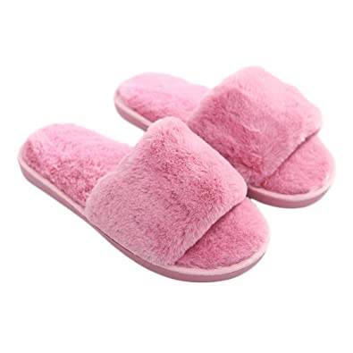 Slipper House Slides Slippers Open Minesign Fur Fuzzy Toe Winter Foam Womens Warm Faux SpUVqzMG