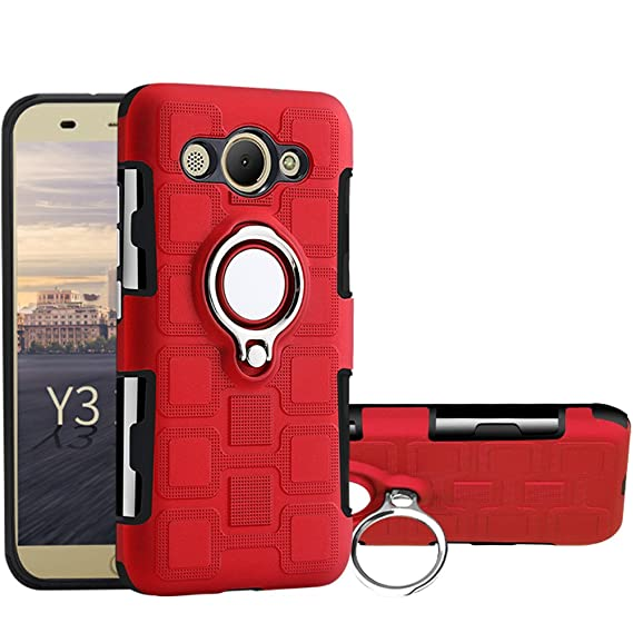 Huawei Y3 2017 Case, Huawei Y5 Lite 2017 Case, Ranyi [Full Body Ring Case]  [360 Degree Protection] [Kickstand Feature] Hybrid Dual Layer 2 In 1 Rubber