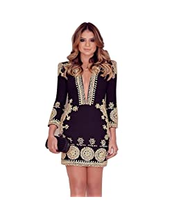Luxsea Women Deep V-Neck Long Sleeve Printing Floral Hollow Out Party Dress