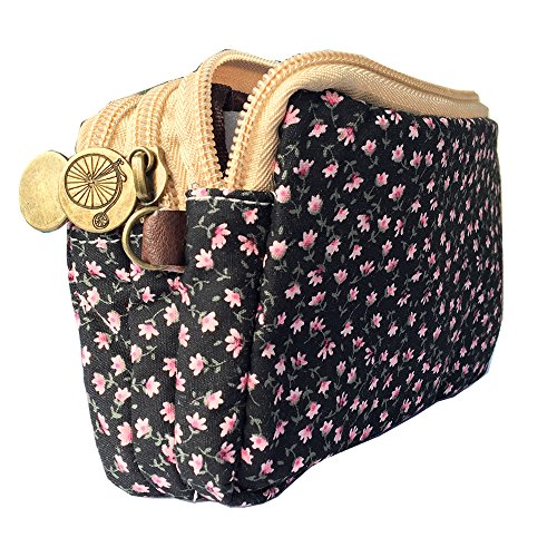 HLBiuty Girls Women's Canvas Vintage Floral Zip Mini Wallet 3 Layers Coin Purse Black Cloth Pink Flower from Homelink