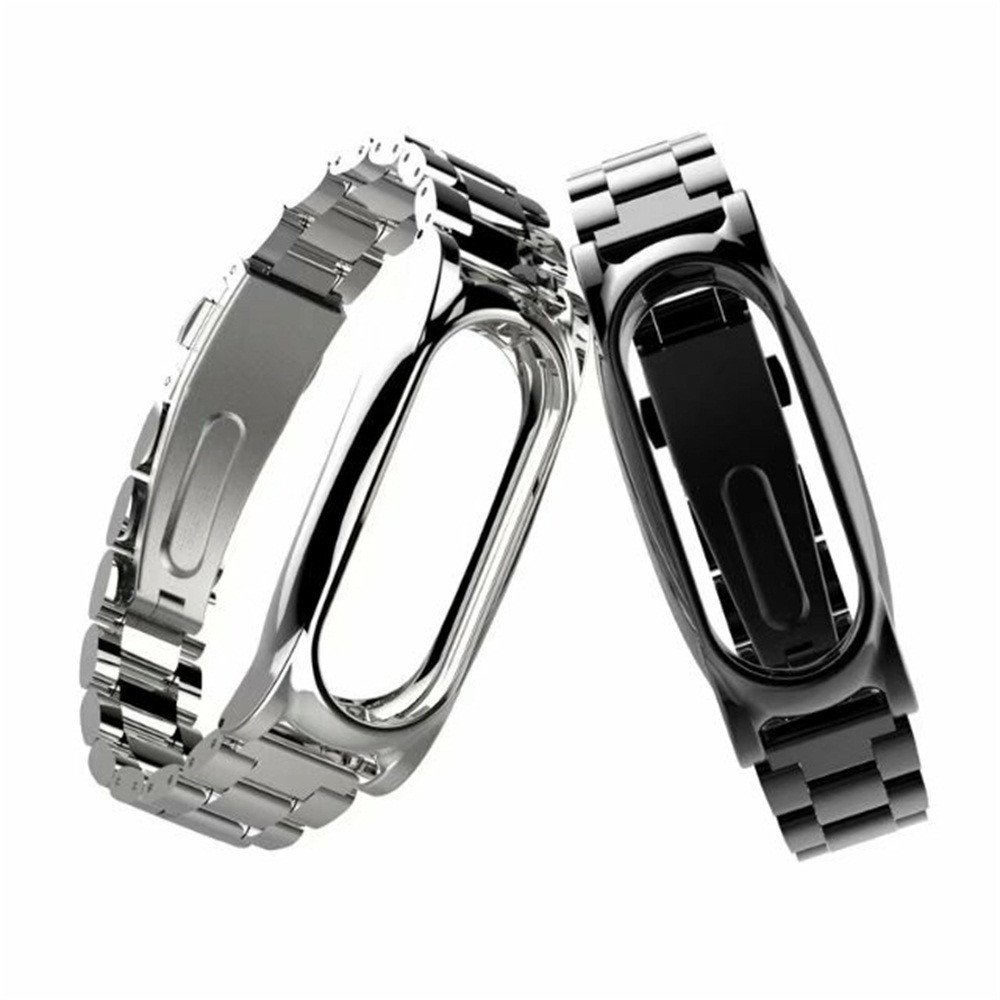 Glumes Stainless Steel Watch Band for Xiaomi Mi Band 2 Wrist Strap Metal Wristband (black)