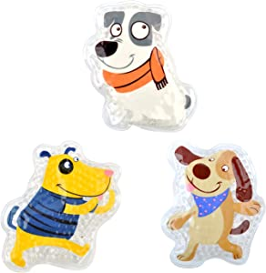 """FOMI Kids Fun Pain Relieving Hot Cold Boo Boos Ice Packs. 3-Pack. Orange Scented Animal Dog Designs. Children's Gel Bead Pack for Neck, Knee, Ankle, Arm, Hand, Thigh, Leg. (4"""" x 3"""" Each)"""