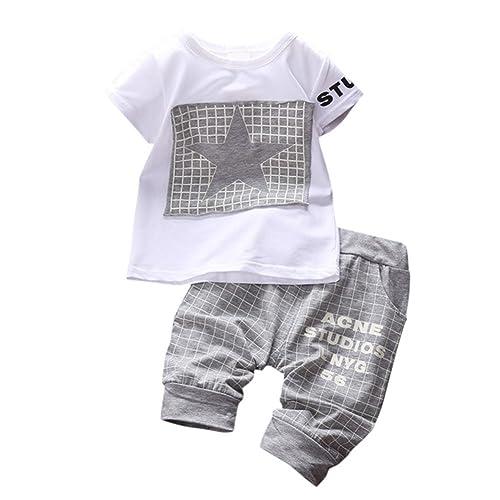 BOBORA Baby Boy Stars Printed Suit Short Sleeve T-Shirt + Pants 0-3 Years