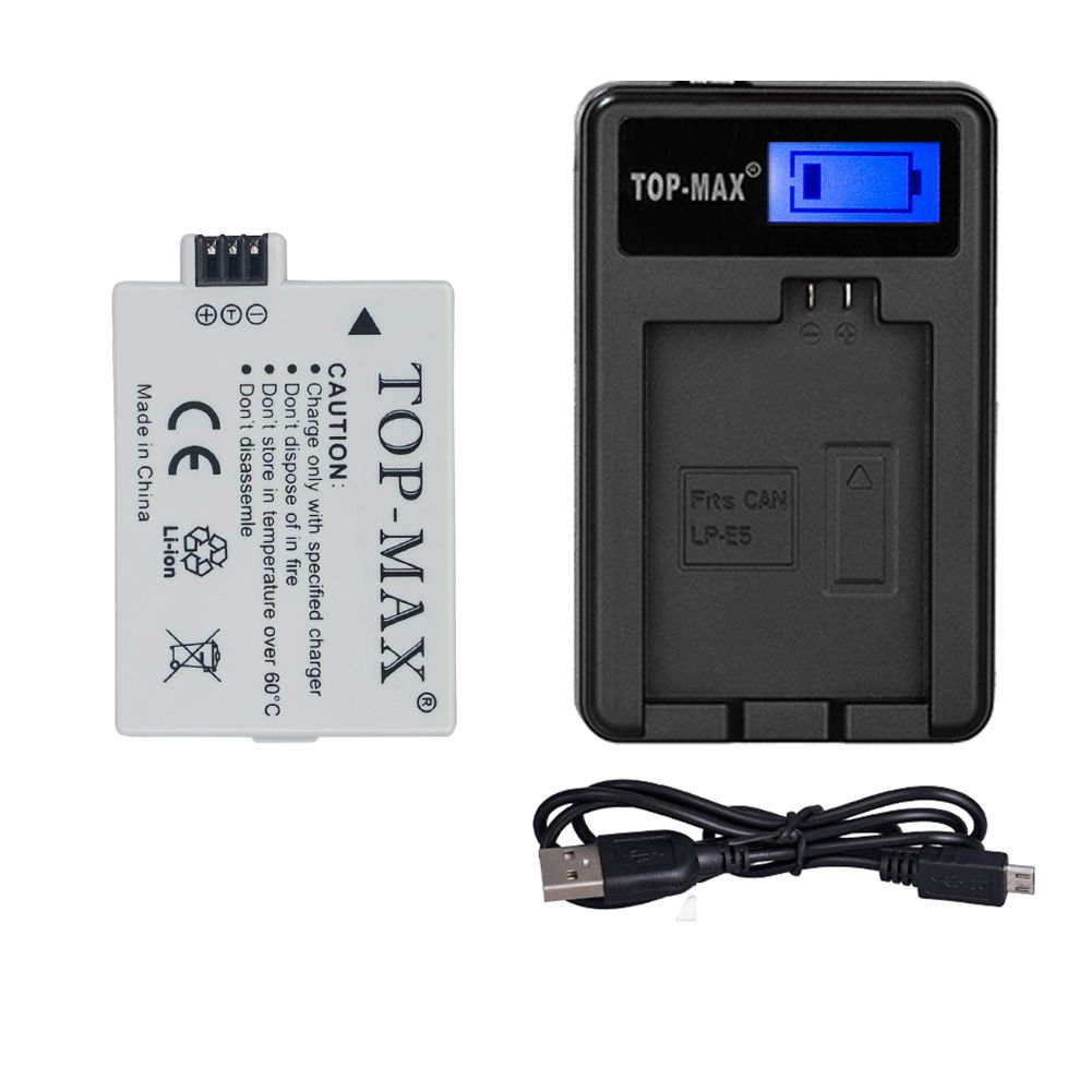 TOP-MAX High Power LP-E5 Battery + USB Charger LED Display for Canon EOS Rebel XS, Rebel T1i, Rebel XSi, 1000D, 500D, 450D, Kiss X3, Kiss X2, Kiss F