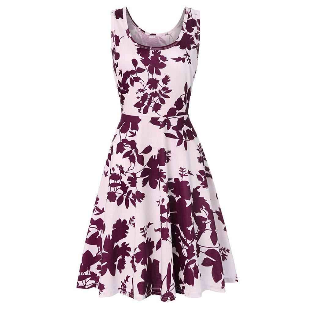 iHENGH Damen Fr/ühling Sommer Rock Bequem L/ässig Mode Kleider Frauen R/öcke /ärmelloses Drucken Sommerstrand eine Linie beil/äufiges Kleidblumenkleid