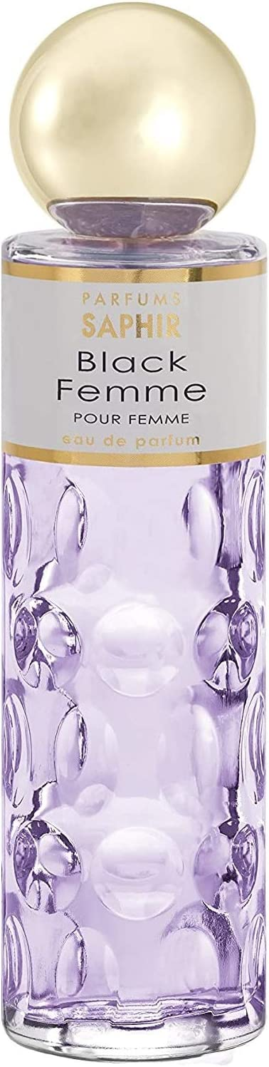 PARFUMS SAPHIR Black Femme, Eau de Parfum con vaporizador para Mujer, 200 ml