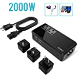 ECOACE 2000W Travel Voltage Converter 220V to 110V, 4-USB Port,Step Down Power Converter for Hair Dryers/Hair Straightener,US to UK/AU//EU Adapters for 170+Countries(for US Appliances)