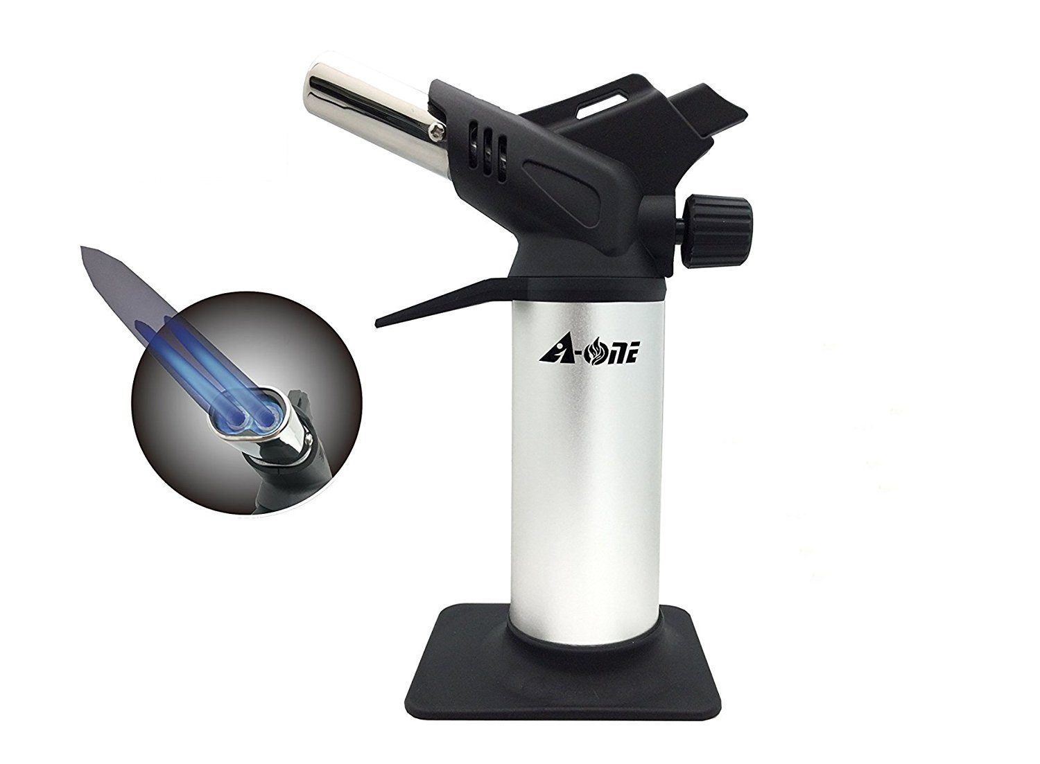 Culinary Torch,A-ONE Adjustable Double Flames Kitchen Torch For Crème Brulee, Sear Meat, Sliver
