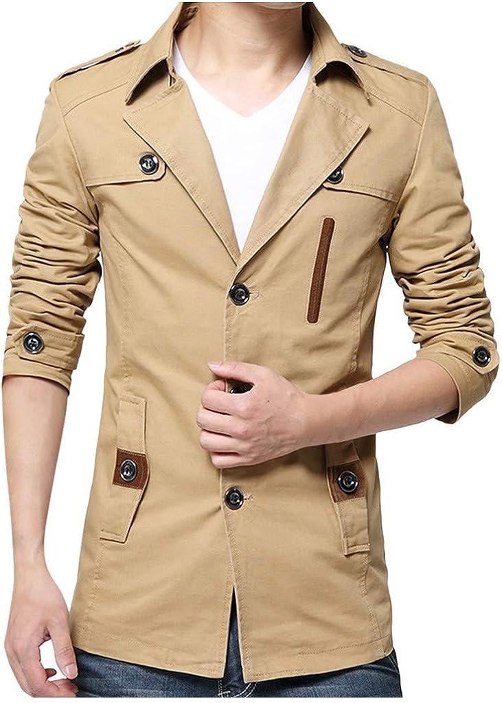 JiaMeng Chaqueta Hombres Jacket Outerwear Tops Slim Elegante Chaquetas Cazadora Ropa Trench Coat Solapa Chaquetones Casual Moda Pure Color Jacket Outwear Abrigo Tops
