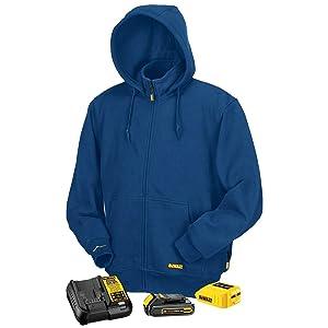 DEWALT DCHJ069C1 20V MAX Unisex Blue Fleece Heated Hoodie