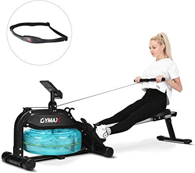 Water Rowing Machine Water Rower Adjustable Resistance LCD Monitor Home Fitness