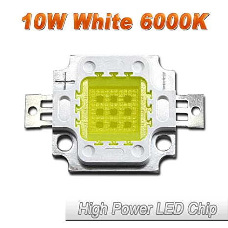 Hontiey High Power LED Chip 10W Pure White Light 6000K-6500K Bulbs 10 Watt  Beads DIY Spotlights Floodlight COB Integration Lamp SMD