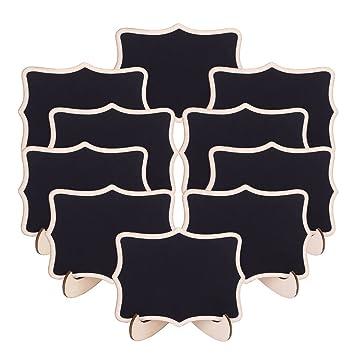 20pcs Mini Pizarras, Pizarras madera con Soporte Tablero Número de Mesa Tabla Señales de Tablero Signos de Mensajes para Boda (Style 4)