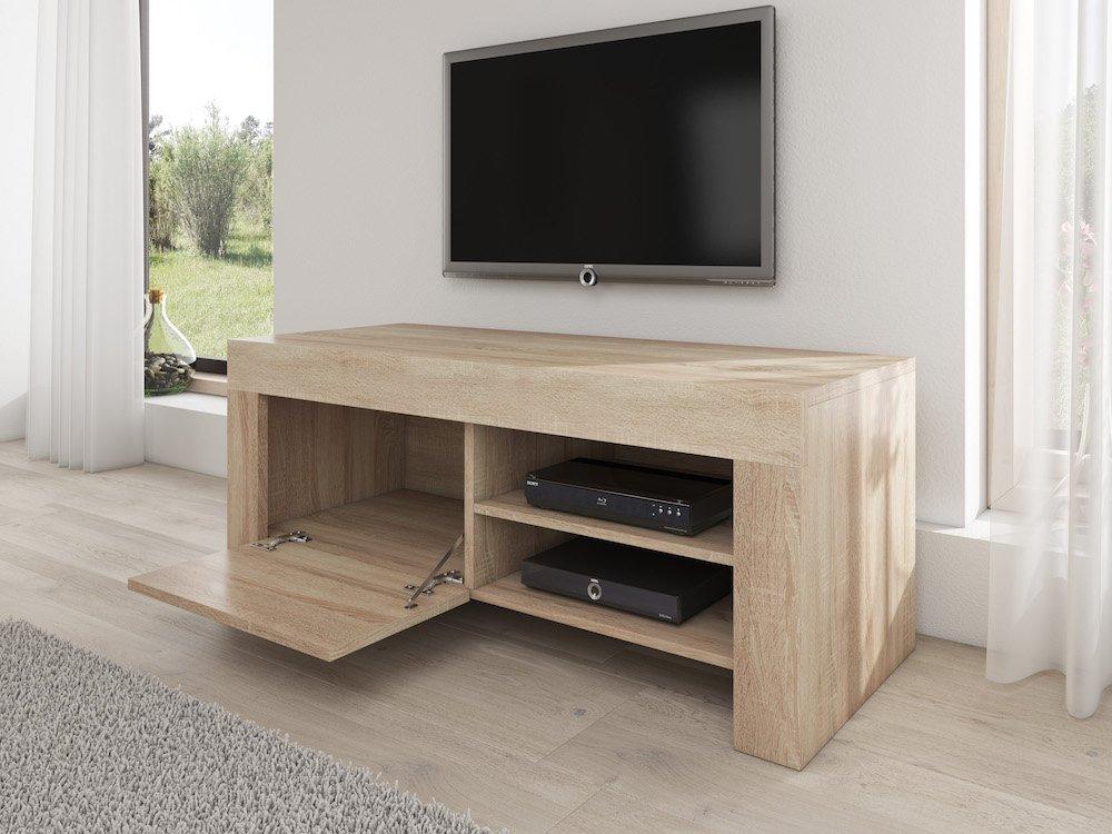 TV Möbel Ständer Schrank Fernsehtisch Fernsehschrank Rome 120 Cm Licht  Eiche Sonoma: Amazon.de: Küche U0026 Haushalt