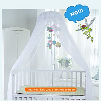 SALICO Cute Baby Mosquito Net Nursery Toddler Bed Crib Canopy Netting  Hanging Ring With Two Mobile