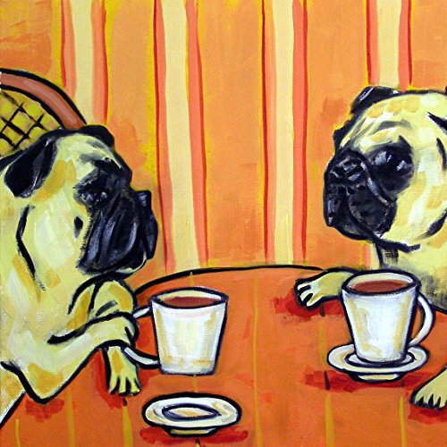 Pugs at the Coffee Shop dog art tile coaster gift cafe