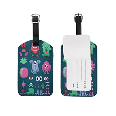 Saobao Travel Luggage Tag Colorful Customizable Monster PU Leather Baggage Suitcase Travel ID Bag Tag, 1Pcs