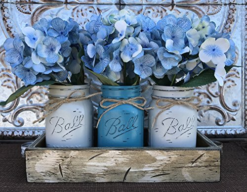 Mason Canning JARS in Wood Antique White Tray Centerpiece with 3 Ball Pint Jar - Kitchen Table Decor - Distressed Rustic - Flowers (Optional) - SOFT GRAY, TURQUOISE Blue Painted Jars (Pictured)