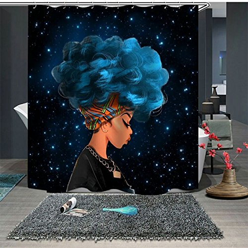 UniTendo African American 3D Retro Style Print Waterproof Polyester Shower Curtain with 12 Hooks for Bathroom Decor,72 x 72 inches, Blue Hair Afro Girl. (Blue Retro Shower Curtain)