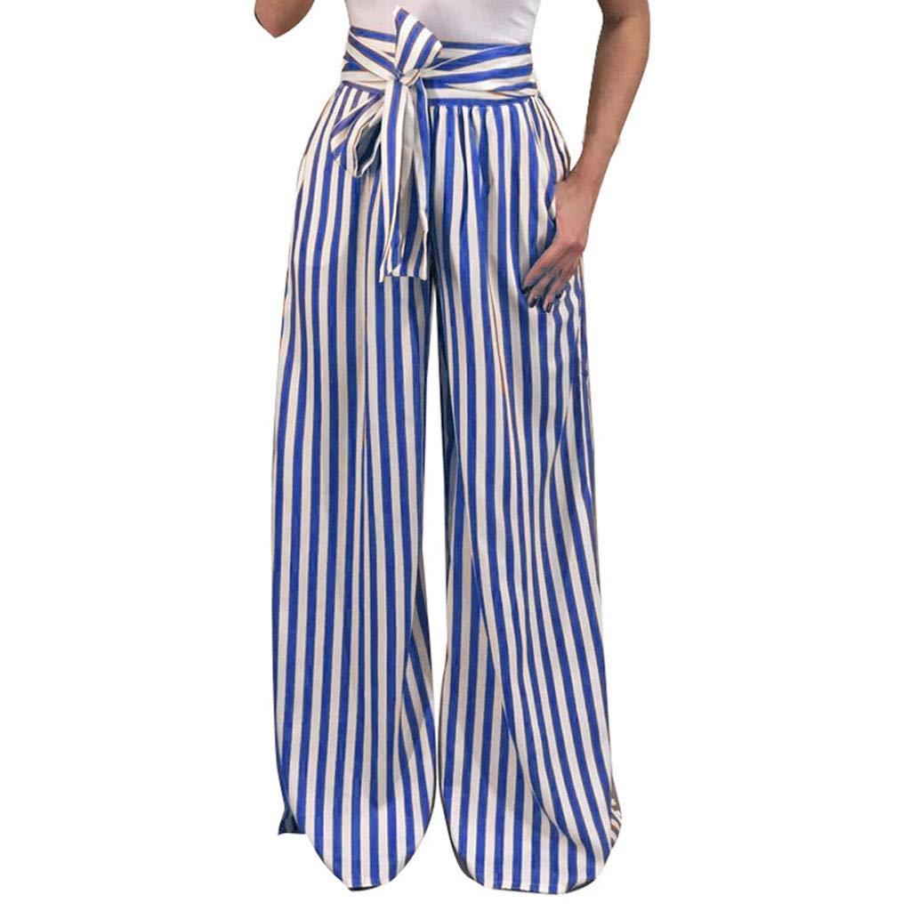Womens Plus Size Casual Harem Long Pants S-5XL,Striped Bandage High Waist Wide Leg Trousers with Belt Blue by Drindf womens Pants