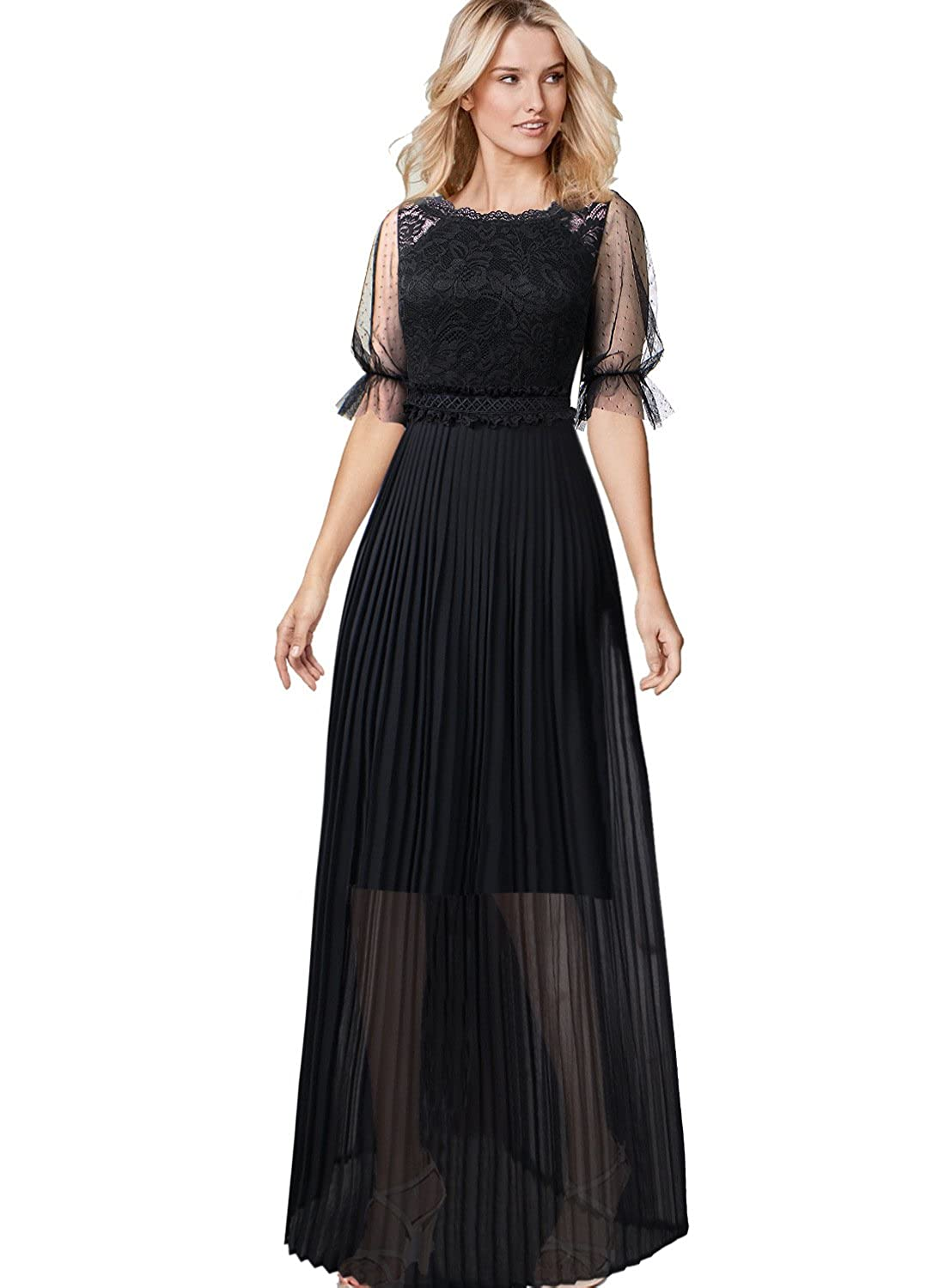 48e05df4a9f0 VFSHOW Women Pleated Lace Chiffon Formal Evening Casual Maxi A-Line Dress  at Amazon Women's Clothing store: