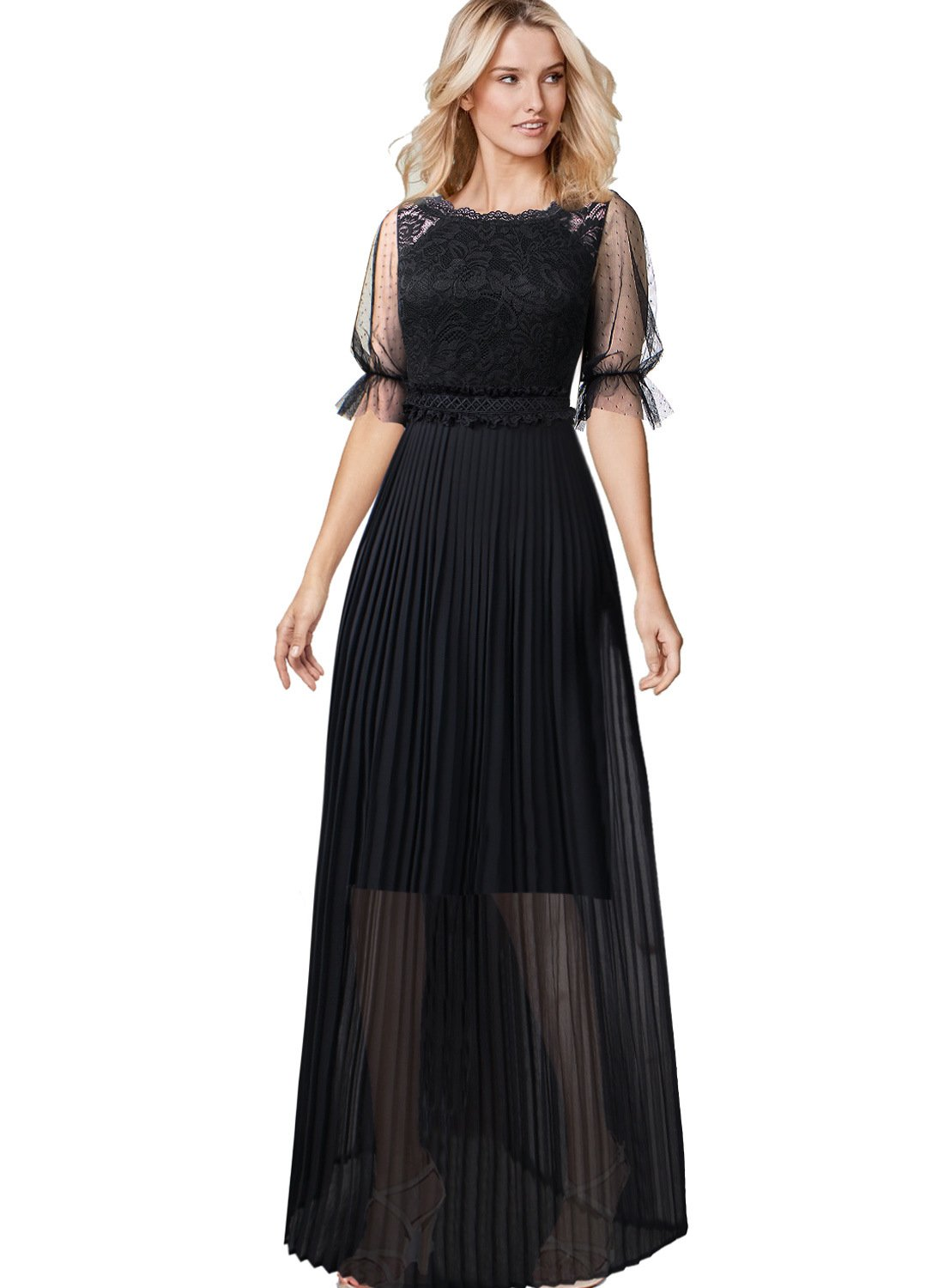 VFSHOW Women Pleated Lace Chiffon Formal Evening Casual Maxi A-Line Dress 443 BLK XL