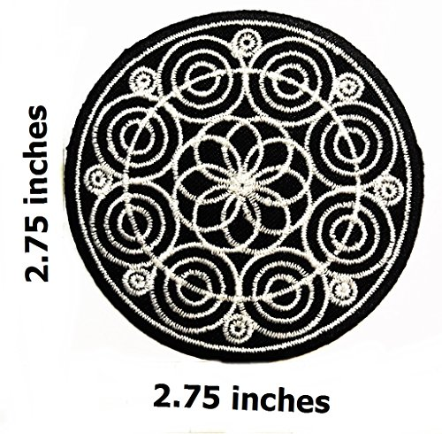 Black Lotus Aum om patch infinity hindu hinduism - Glue On Fabric Patches