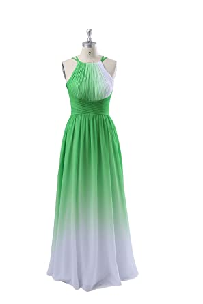 Qingrong Womens Halter Gradient Chiffon Long Prom Dress Ombre Evening ...
