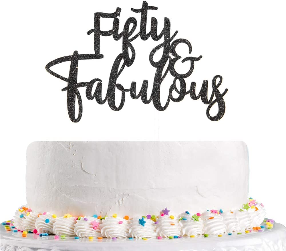 Talorine Black Glitter Fifty & Fabulous Cake Topper for Happy 50th Birthday, 50th Wedding Anniverdary Party Decorations