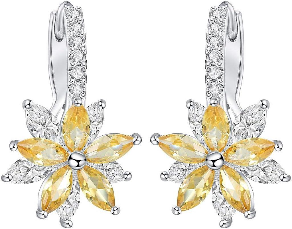 Pendientes de Cobre cúbicos Simples con Forma de Piedra de Flor romántica Encantadora para Mujer, Pendientes de joyería y Relojes