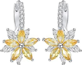 Dorical Pendientes mujer Pendientes plata con flor Cubic Zirconia ...