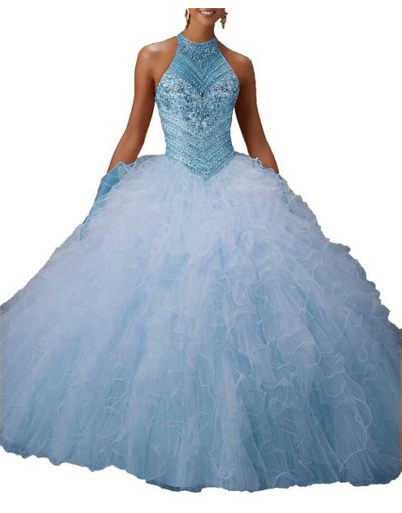 Angla Women\'s Crystal Rhinestones Ball Gown Long Quinceanera Party ...