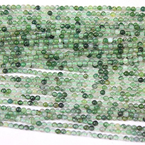 - 2mm Natural Moss Agate Findings Jewerlry Making Gemstone Loose Beads (2mm)