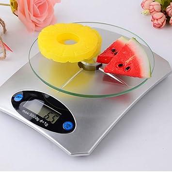 QMKJ Báscula de Cocina electrónica de Alta precisión Escala de Alimentos de Vidrio en el hogar