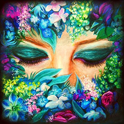 LOVEER 5D Diamond Painting Full Drill Kits for Adults by Number Kits, Face Flowers DIY Embroidery Rhinestone Paintings Cross Stitch Kit 12 x 12 Inch Wall Art Home Decor (A)