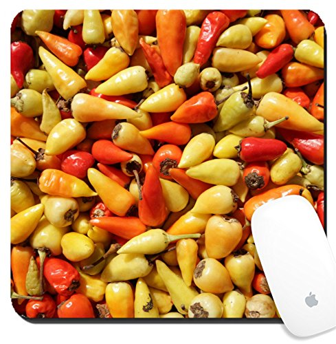 Luxlady Suqare Mousepad 8x8 Inch Mouse Pads/Mat design IMAGE ID: 34618449 red and yellow chillis