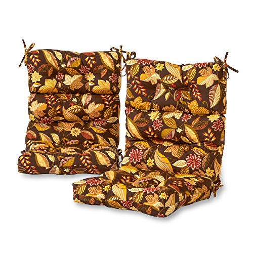 (Greendale Home Fashions Outdoor High Back Chair Cushion (set of 2), Timbfloral)