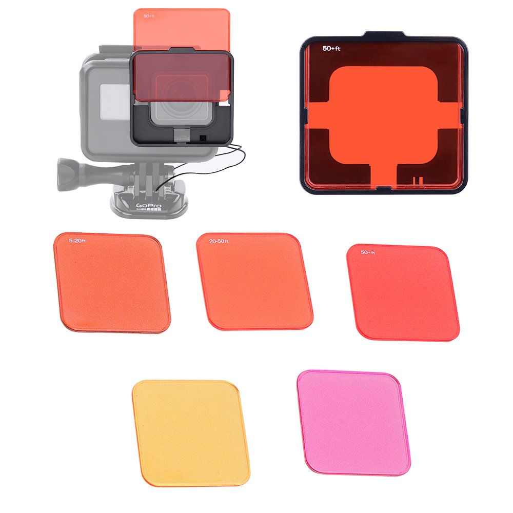 Switchable Diving Lens Filter Set with Filter Frame and tether for Gopro Hero 5 HERO 6 Nake Camera ONLY by HOLACA