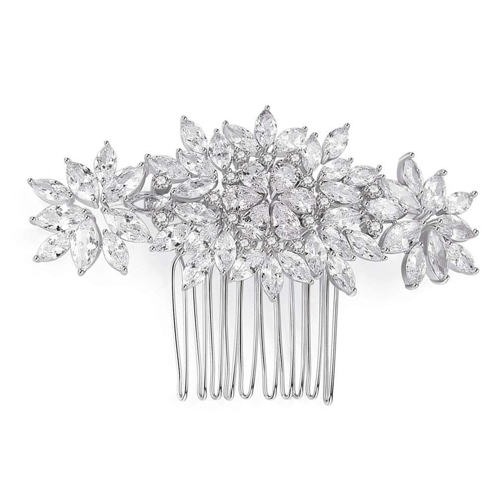 Women's Bridal Hair Comb Banquet Crystal CZ Cubic Zirconia Flower Leaves Hair Comb Bridal Hair Accessories for Bridal and Bridesmaid Silver by CZCITY